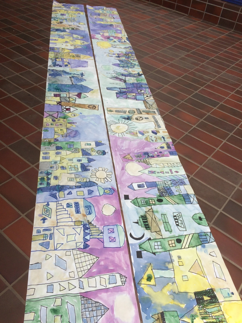 Schulprojekt Naturfarben; Gemeinschaftsbild mit Pflanzenfarben; Klasse 3 + 4