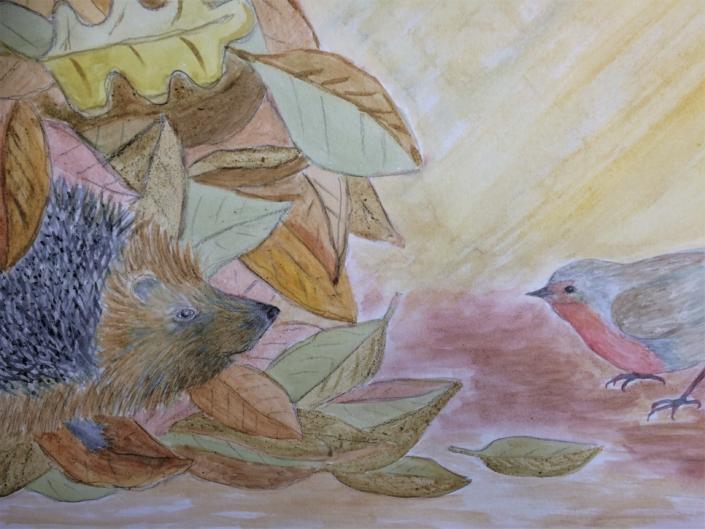 Igel und Rotkehlchen; Naturfarben; Pflanzenfarben